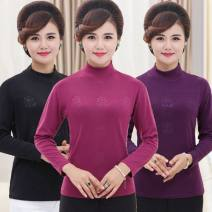 T-shirt 1, 2, 3, 4, 5, 6, 7, 8, 9, 10 Autumn of 2019 Long sleeves High collar Straight cylinder Regular routine commute cotton 96% and above 40-49 years old lady family affection Plant flower High collar bottoming shirt printing