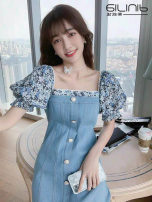 Dress Spring 2021 Picture color S M L XL Mid length dress singleton  Short sleeve commute square neck High waist Solid color Others 18-24 years old Sabina lady 20210313-14 More than 95% other Other 100% Pure e-commerce (online only)