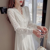 Dress Spring 2021 Picture color S M L XL Mid length dress singleton  Long sleeves commute V-neck High waist Solid color Others 18-24 years old Sabina literature 20210311-3 More than 95% other Other 100% Pure e-commerce (online only)