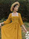 Dress Spring 2021 yellow S M L Mid length dress singleton  three quarter sleeve commute square neck High waist Solid color Others 18-24 years old Sabina Retro 20210312-1 More than 95% other Other 100% Pure e-commerce (online only)