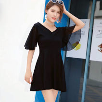 Dress 71% (inclusive) - 80% (inclusive) cotton Summer 2020 brocade Middle-skirt singleton  Short sleeve commute V-neck middle-waisted Solid color Condom A-line skirt pagoda sleeve 18-24 years old Other Type A Korean version Hollow out, open back, stitching S,M,L