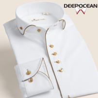 shirt Business gentleman DEEPOCEAN 36 37 38 39 40 41 42 43 44 46 45 White Chiffon with white purple edge and gold edge dcx23509l routine Windsor collar Long sleeves Self cultivation Other leisure autumn DDX76536L youth Cotton 100% Business Casual 2019 Solid color Color woven fabric Autumn of 2018