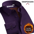 shirt Business gentleman DEEPOCEAN 36 37 38 39 40 41 42 43 44 46 45 Navy Purple Black White Blue Sapphire Navy standard collar sapphire blue standard collar purple standard collar blue standard collar Plush and thicken Button collar Long sleeves Self cultivation daily winter DDX95525L youth 2019