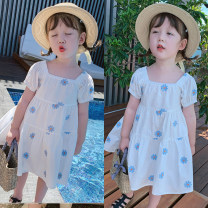 Dress white female Other / other 90cm,100cm,110cm,120cm,130cm,140cm Polyester 100% spring and autumn leisure time Short sleeve Broken flowers other A-line skirt other Three, four, five, six, seven, eight Chinese Mainland Guangdong Province Guangzhou City
