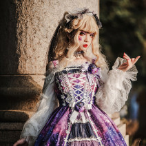 Lolita / soft girl / dress MILU ORIG Blue purple vest, skirt, corset, headdress L, M Unlimited season, winter, spring, spring and autumn goods in stock