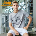 Quick drying T-shirt J122094560 male Navy light grey Jeep / Jeep 501-1000 yuan M L XL 2XL 3XL 4XL Short sleeve Air permeability, wear resistance, quick drying and super light others Summer 2021 Crew neck China Straight cylinder Cotton and hemp printing no Outdoor travel