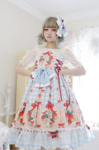 Lolita / soft girl / dress Twilight Red, black, sky blue, generative color S-dress, m-dress, l-dress, apron, hairband, side clip, skirt strawberry clip (6 pieces) - tail, jsk custom size