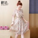 Dress Summer of 2019 S M L XL 2XL Mid length dress singleton  Short sleeve commute Crew neck High waist Broken flowers Socket A-line skirt pagoda sleeve Others 25-29 years old Type A Autumn comfort Korean version Bow and ruffle lace with tie print More than 95% other Other 100%