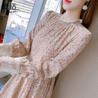Dress Spring 2021 Picture color S M L XL Mid length dress singleton  Long sleeves commute Crew neck High waist Broken flowers Socket Ruffle Skirt routine Others 25-29 years old Type A Autumn comfort Korean version Cut out and pleated lace printing with ruffle QS168804019 More than 95% other