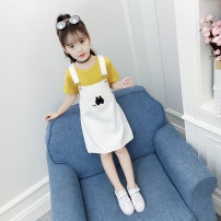 suit Bobo goose yellow 100cm 110cm 120cm 130cm 140cm 150cm 160cm female summer Korean version Short sleeve + skirt 2 pieces Thin money No model Socket nothing Solid color friend Expression of love Class B Other 100% Summer of 2018