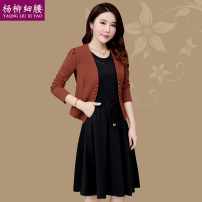 Dress Winter 2017 Green red Khaki M L XL 2XL 3XL 4XL Mid length dress Two piece set Long sleeves commute Crew neck High waist Solid color Socket A-line skirt routine Others 40-49 years old Type A Yaqng Liu Xi Yao / willow waist Korean version Three dimensional decorative button lace YLXY8081# Wool