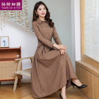 Dress Winter of 2019 Grey Khaki Navy denim blue Caramel pink Burgundy green M L XL 2XL 3XL longuette singleton  Long sleeves commute Polo collar middle-waisted Solid color Single breasted A-line skirt shirt sleeve Others 35-39 years old Type A Yaqng Liu Xi Yao / willow waist Korean version Button