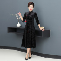 cheongsam Autumn 2020 S,M,L,XL,XXL black three quarter sleeve long cheongsam Retro Low slit daily Oblique lapel Solid color Over 35 years old Piping JSZL19138 other 96% and above