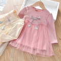 Dress Pink, apricot female Anemora / Eni Mengmeng 90cm,100cm,110cm,120cm,130cm Cotton 90% other 10% spring and autumn Korean version Long sleeves Solid color cotton A-line skirt J2222 Class B Chinese Mainland Guangdong Province Foshan City