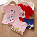 T-shirt Pink letter short sleeve top, pink giraffe short sleeve top, royal blue mouse short sleeve top, red Swan top Anemora / Eni Mengmeng 80cm,90cm,100cm,110cm,120cm,130cm,140cm female summer Short sleeve Crew neck Korean version No model nothing cotton Cartoon animation Cotton 95% other 5% x2119