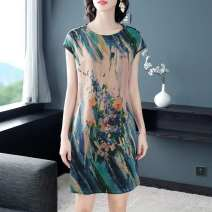 Dress Summer 2021 M,L,XL,2XL,3XL Middle-skirt singleton  Short sleeve street Crew neck Broken flowers Socket A-line skirt other straps Type A 31% (inclusive) - 50% (inclusive) neutral