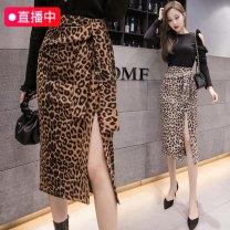 skirt Autumn 2020 S,M,L,XL Camel, apricot, dot Mid length dress commute High waist skirt Leopard Print Type A Q0018 Bandage, zipper, stitching, printing Korean version