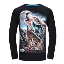 Sweater other Chaopai Black, navy blue S,M,L,XL,2XL,3XL,4XL,5XL,6XL other Socket routine Crew neck autumn Slim fit motion teenagers 3D long sleeve - wolf in the mountain Other 100% cotton 50% (inclusive) - 69% (inclusive) Oblique lapel