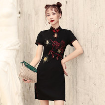 cheongsam Summer of 2019 S M L XL XXL Tianma-7327 flying elephant-7314 pink flying elephant-7314 Short sleeve Short cheongsam ethnic style Low slit daily Oblique lapel Animal design 18-25 years old Embroidery TLY7237 Tang Laiyi other Other 100% Pure e-commerce (online only) 96% and above