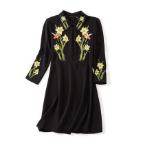 Dress Autumn of 2018 black 155/80A,160/84A,165/88A,170/92A Short skirt singleton  Long sleeves commute Crew neck middle-waisted Big flower zipper A-line skirt routine Others Type A Monsoon Simplicity More than 95% other polyester fiber