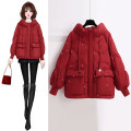 Down Jackets Winter 2020 Free money Black scarlet (recommended by shopkeeper) red (main picture color) red + Plush Leggings black + Plush Leggings scarlet + Plush Leggings S M L XL White duck down 90% routine Long sleeves thickening zipper Hood commute bishop sleeve Solid color Z88 Korean version
