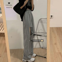 Casual pants Gray, black Average size Spring 2021 trousers Wide leg pants High waist commute routine 18-24 years old 30% and below Korean version hole