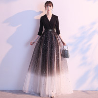 Dress / evening wear Weddings, adulthood parties, company annual meetings, daily appointments S M L XL XXL Xt004 black Korean version longuette middle-waisted Winter of 2019 Fall to the ground Deep collar V zipper XT191109 three quarter sleeve Solid color Hongtul Other 100% Exclusive payment of tmall