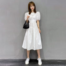Dress Summer 2021 White, pink S,M,L longuette singleton  Short sleeve street Crew neck High waist Solid color Socket routine Others halo story Resin fixation, ruffle, tie dyeing Y20X1388DP10 81% (inclusive) - 90% (inclusive) other other Europe and America