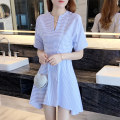 Dress Summer 2021 Blue and white stripes S M L XL XXL XS Middle-skirt singleton  Short sleeve commute V-neck High waist stripe Socket Irregular skirt routine Others 18-24 years old Type A Hua Qianni Korean version Asymmetry More than 95% other Other 100% Pure e-commerce (online only)