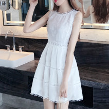 Dress Summer 2020 white S M L XL XXL Middle-skirt singleton  Sleeveless commute Crew neck High waist Solid color Socket A-line skirt other Others 18-24 years old Type A Hua Qianni Korean version Gouhua hollow splicing More than 95% other Other 100% Pure e-commerce (online only)