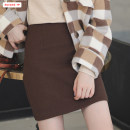 skirt Winter of 2019 S M L Black Brown Short skirt Versatile High waist A-line skirt Solid color Type A 18-24 years old BSBY20191007T08 More than 95% Wool Basabai polyester fiber Zipper stitching Polyester 100% Pure e-commerce (online only)