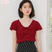 T-shirt gules S M L Summer of 2019 Short sleeve V-neck Self cultivation Regular routine commute polyester fiber 96% and above 18-24 years old Retro youth Solid color Basabai Stitching bows Polyester 100% Pure e-commerce (online only)