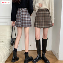 skirt Autumn 2020 S M L Cagrange Short skirt commute High waist A-line skirt lattice Type A 18-24 years old BSBY20201013T02 More than 95% other Basabai other Pocket button zipper panel Korean version Other 100% Pure e-commerce (online only)