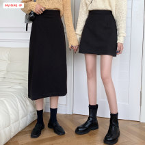 skirt Winter 2020 S M L Black short blue grey short coffee short black medium long blue grey medium long coffee medium long Mid length dress commute High waist A-line skirt Solid color Type A 18-24 years old BSBY20201108T01 More than 95% other Basabai other Zipper stitching Korean version Other 100%