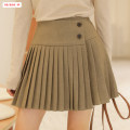 skirt Autumn of 2019 S M L khaki Short skirt commute High waist Pleated skirt Solid color Type A 18-24 years old BSBY20191008T05 More than 95% other Basabai polyester fiber Fold asymmetric button zipper stitching Korean version Polyester 100% Pure e-commerce (online only)