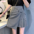 skirt Winter 2020 S M L Grey black Short skirt commute High waist Irregular Solid color Type A 18-24 years old BSBY20201229T11 More than 95% other Basabai other Fold asymmetric zipper stitching Korean version Other 100% Pure e-commerce (online only)