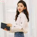shirt white S M L Autumn of 2019 polyester fiber 96% and above Long sleeves commute Regular Polo collar Single row multi button other Solid color 18-24 years old Self cultivation Basabai Korean version BSBY20190823T01 Embroidered pleated button Polyester 100% Pure e-commerce (online only)