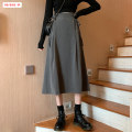 skirt Autumn 2020 S M L XL Grey black Mid length dress commute High waist A-line skirt Solid color Type A 18-24 years old BSBY20200817T05 More than 95% other Basabai other Strap splicing Korean version Other 100% Exclusive payment of tmall