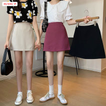 skirt Spring 2021 S M L Purple apricot black Short skirt commute High waist A-line skirt Solid color Type A 18-24 years old BSBY20210219T12 More than 95% other Basabai other Zipper stitching Korean version Other 100% Pure e-commerce (online only)
