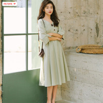 Dress Summer of 2019 White light green S M L Mid length dress singleton  elbow sleeve commute V-neck High waist Solid color Three buttons A-line skirt routine Others 18-24 years old Type A Basabai Retro Pleated button More than 95% other polyester fiber Polyester 100% Pure e-commerce (online only)