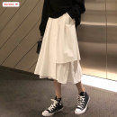 skirt Autumn of 2019 Average size (within 80kg ~ 130kg) White black Mid length dress commute High waist Irregular Solid color Type A 18-24 years old More than 95% other Basabai polyester fiber Asymmetric stitching of pockets Korean version Polyester 100% Pure e-commerce (online only)