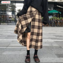 skirt Winter of 2019 S M L Black and white check (stock) Khaki check (stock) Mid length dress commute High waist A-line skirt lattice Type A 18-24 years old BSBY20191210T04 More than 95% Wool Basabai polyester fiber Zipper stitching Korean version Polyester 100% Pure e-commerce (online only)