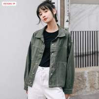 short coat Autumn of 2019 S M L Black army green Long sleeves routine routine singleton  easy commute routine Polo collar Single breasted Solid color 18-24 years old Basabai 96% and above Tassel pocket button BSBY20190903T04 polyester fiber cotton Polyester 100% Pure e-commerce (online only)