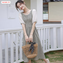 Dress Summer 2021 Picture color S M L XL Mid length dress singleton  Short sleeve commute Crew neck High waist lattice Socket A-line skirt routine Others 18-24 years old Type A Basabai Korean version Stitching buttons BSBY20210328T01 More than 95% other other Other 100% Pure e-commerce (online only)