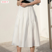 skirt Spring of 2019 Average size (within 80kg ~ 130kg) White black Mid length dress commute High waist Pleated skirt Solid color Type A 18-24 years old More than 95% other Basabai polyester fiber Fold splicing Korean version Polyester 100% Pure e-commerce (online only)
