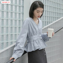 shirt White haze blue S M L Spring of 2019 polyester fiber 96% and above Long sleeves commute Regular V-neck Socket shirt sleeve Solid color 18-24 years old Self cultivation Basabai Korean version Stitched pleated button Polyester 100% Pure e-commerce (online only)