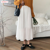 skirt Summer 2021 Average size (within 80kg ~ 130kg) White, black, purple Mid length dress commute High waist Pleated skirt Solid color Type A 18-24 years old BSBY20210303T07 More than 95% Chiffon Basabai other Fold splicing Korean version Other 100% Pure e-commerce (online only)