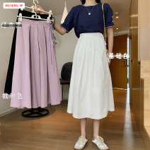 skirt Summer 2020 Average size Basic White Classic Black Rose Pink longuette commute High waist A-line skirt Solid color Type H 18-24 years old BSBY20200607D04 71% (inclusive) - 80% (inclusive) other Basabai cotton fold Cotton 80% other 20% Pure e-commerce (online only)