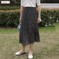 skirt Summer 2021 Average size (within 80kg ~ 130kg) Black yellow Mid length dress commute High waist A-line skirt Broken flowers Type A 18-24 years old BSBY20210327T10 More than 95% other Basabai other Patchwork printing Korean version Other 100% Pure e-commerce (online only)