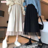 skirt Winter 2020 Average size (within 80kg ~ 130kg) Black apricot Mid length dress commute High waist A-line skirt Solid color Type A 18-24 years old BSBY20201111T16 More than 95% other Basabai other Pleated mesh splicing Korean version Other 100% Pure e-commerce (online only)